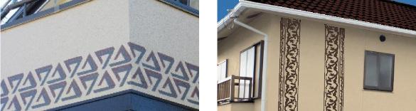 画像:数種類のデザインが入る外壁塗装。