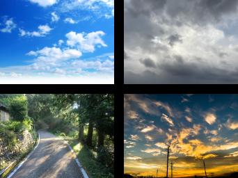 画像:青空、曇り空、陰から光、オレンジ色の青空